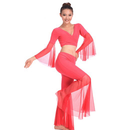 Wholesale Dance Costumes Free Shipping - 2016 Bellydance Costume Dancing Top+Pants Dance Wear Clothes 10colors Bollywood Dance Costumes Free Shipping Sexy Costumes