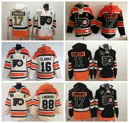 Wholesale Hot Nylon Flashing - Hot Men 17 Wayne Simmonds Hoody Philadelphia Flyers Sweatshirts Ice Hockey 11 Travis Konecny Hooded 16 Bobby Clarke 88 Eric Lindros