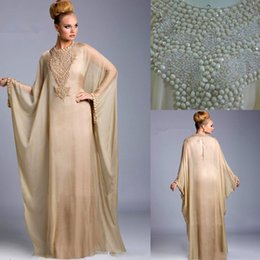 Wholesale muslin long dress - 2017 Champagne Dubai Fancy Prom Dresses Farasha Abaya Jalabiya Islamic Kaftan Chiffon Beaded Crystals Muslin Long Evening Dresses bo6372