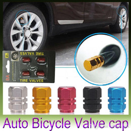 Wholesale Bmw Wheel Valve Caps - New 4pcs pack Theftproof Aluminum Car Wheel Tire Valves Tyre Stem Air Caps Airtight Cover hot selling
