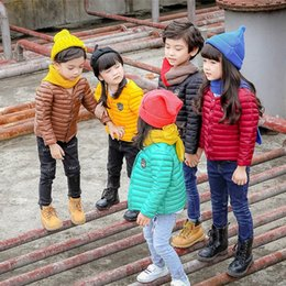 Wholesale Clothes Korea For Girls - Korea Style Kids Down Coat 90% Cotton Winter Warm Chidrens Clothes Solid Color Kids Outwear for Boys and Girl H003