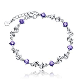 Wholesale High Polished Silver Link Bracelet - Newest arrival Women 30% 925 Sterling Silver Crystal Jewelry Valentine's Day Small Gift High Polished Charm Bracelet