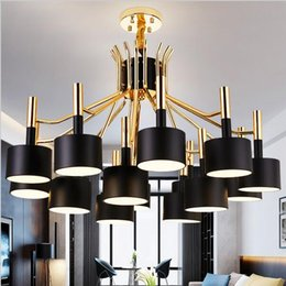 Wholesale White Gold Pendant Light - Modern Led Chandelier hammer led pendant light chandeliers lighting 12 15 heads Gold and Black lighting fixtures