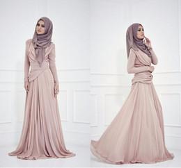 Canada Femmes élégantes élégantes arabe robe de soirée en mousseline de soie plissée à manches longues Arabie Saoudite Design bonne qualité robe de soirée cheap arabia evening dresses Offre