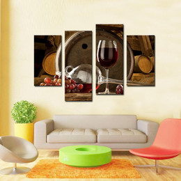 Wholesale Canvas Paintings Wine Glasses - 4 Panels Picture Wine And Fruit With Glass And Barrel Wall Art Painting Pictures Print On Canvas Food The Picture For Home Modern Decoration