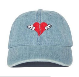 Wholesale Silver Ball Bearings - New denim Kanye west Heart break album cap colb by kaws bear dad hat Kanye West Wolves hat ovo drake hats KERMIT TEA Hat casual