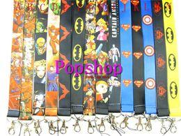 Wholesale Mobile Lanyards - Hot Ssle!50pcs Mix Animation Avengers Hero Batman spider-man Cartoon Neck Strap Lanyard ID Holder Keys Mobile Phone