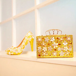 Wholesale Gold Shoes Matching Bag - Gold Rhinestone Wedding Shoes Gorgeous Crystal Flower Bridal Dress Shoes with Matching Bag Gift for Wife Party Prom Pumps