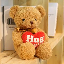 Wholesale Red Plush Teddy Bear - Hug Me Teddy Bear 38cm Holding Love Red Heart Teddy Plush Soft Animal Valentine Girlfriend Bear Gift Toy HANCHENTE1022
