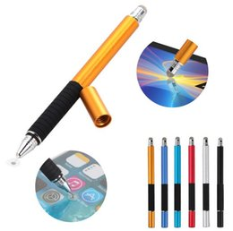 Wholesale Thinnest Touch Screen Phone - 2 in 1 Mutilfuction Fine Point Round Thin Tip Touch Screen Pen Capacitive Stylus Pen For iPad iPhone All Mobile Phones Tablet