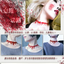 Wholesale Plastic Circles Bar - 12 piece New Halloween Horror Blood Necklace Choker Punk Collar Fancy Fun Joke Red Novelty Acessories For Women Party Prom Bar Dress
