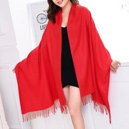 Wholesale Elegant Winter Scarf Woman - 180cm*65cm Solid Shawl Ladies Imitation Cashmere Wraps 250g High Quality Tassels Women Scarves Elegant Red Gray Autumn Winter Pashmina Warm