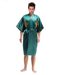 Wholesale Men Chinese Gown - Wholesale-Novelty Green Chinese Men Silk Satin Robe Kimono Yukata Gown Embroidery Dragon Nightgown Pajamas Size S M L XL XXL XXXL MR020