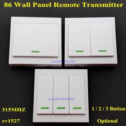 botón rf transmisor Rebajas Al por mayor-86 Wall Panel Remote Transmitter 1 2 3 Botón Sticky RF TX Smart Home Room Hall Sala de estar Dormitorio Wirelss Remote315 / 433 ev1527