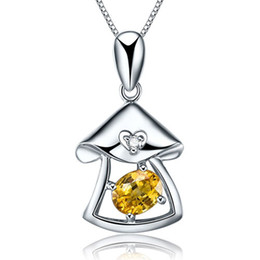 Wholesale Golden Mushroom - Silver Jewelry 925 Sterling Silver Mushroom Pendant Charm Zircon Diamond Necklace with Gift Box Golden Yellow Necklace