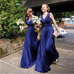 Wholesale Bridesmaid Dres - A line Long Sexy Bridesmaid dresses V neck Sleeveless Pleats Elegant Women Wedding party gown Cheap New Maid of honor dres