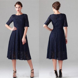 c5b07f9fb3a6 2016 Modest Tea Length Mother Bride Dresses Sleeves Dark Navy Lace Wedding  Guest Dress Jewel Neck Zipper Back Cheap High Quality Custom Made Mother Of  The ...