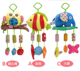 Wholesale Baby Bedding Fishing - Baby Rattle Ring Bell Baby plush Owl elephant fish 3 style lathe hanging Musical Baby toy for bed Stroller car