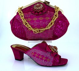 Wholesale Wedges Cm - Beautiful african shoes matching handbag sets with bowtie and rhinestone decoration ladies shoes for party dress MM1011 fuchsia,heel 6 CM