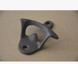 Wholesale Wall Mounted Bottle Openers Wholesale - 100pcs Wall Opener Hanging Hook Beer Bottle Openers Mount Copper Cap RUSTIC CAST IRON CAFE BAR WALL OPEN HERE Metal Retro