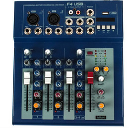 Wholesale Dvd Mixer - F4USB 4 channel mixer professional performance mixer with reverb USB KTV stage equipment family meeting Audio Mixer