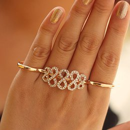 Wholesale Large Crystal Silver Rings - New Fashion Exaggerated Large Silver Gold Plated Crystal Double Finger Infinity Rings Wholesale for women DHR212
