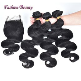 "Wholesale Cuticle Hair Extensions Wholesale - Brazilian Hair 100% human Hair Extensions Body Wave 4""*4"" Lace Closure With 3 Bundles Unprocessed Full Cuticle Human Hair Weave"
