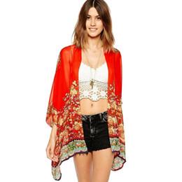 Toptan Yaz Stil Moda kadın Vintage Çiçek Baskı Kırmızı Şifon Bluz Gömlek Kadın Gevşek Şifon Kimono Hırka cheap red kimono cardigan nereden kırmızı kimono hırka tedarikçiler