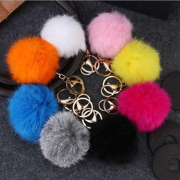 Wholesale Ball Room Dancing - Metal buckle 8cm genuine rabbit hair ball key ring lady fashion key bag car pendant R243 Arts and Crafts mix order