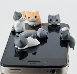 Wholesale Plugy Cat - FREE SHIPPING 3.5mm cheese cat anti dust plugy kawaii cartoon design mobile phone ear caps plug cute Cat Ears Anti Dust Earphone Plug Stofor