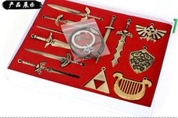 Wholesale Sword Set Wholesale - 12pcs set The Legend of Zelda weapon sets link sword 2.5-8 cm alloy bronze key chains necklace pentants Xmas gfit