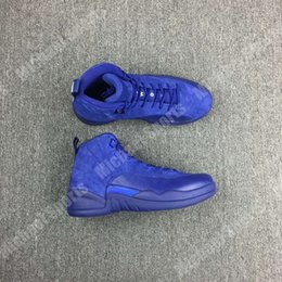 Wholesale Shoe Sole Materials - retro 12 Blue Suede basketball shoes original material and carbon fiber in the sole built-in air cushion Original Factory Quality Version