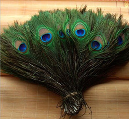 Wholesale Natural Plants - Elegant decorative materials Real Natural Peacock Feather Beautiful Feathers about 25 to 30 cm free shipping