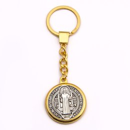 Wholesale saints rings - Hot Marvel Saint Benedict Medal Pendant Key Chain Ring Holder, Trinket  Metal Keychain For Cosplay Jesus Religious Jewelry