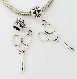 Wholesale Silver Bracelet Long - Long Scissors Big Hole Beads 100pcs lot Antique Silver Dangle Fit European Charm Bracelets Jewelry DIY B231 39.7x13.2mm