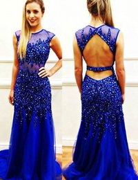 Wholesale Bright Tulle - Jewel Luxurious Royal Blue Backless Sweep Train Crystal Bright Evening Dresses Tulle Sexy Prom Dresses Custom Made