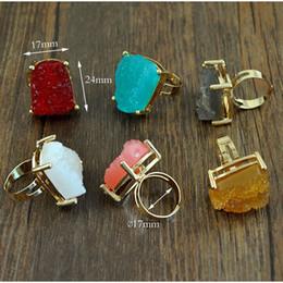 Wholesale Natural Stone Quartz Ring - Bohemian Natural Stone Ring Gold Plated Irregular Crystal Quartz open Rings for Women Men Couple Jewelry