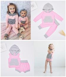 Wholesale Toddler Pink Jacket - Wholesale Girls Baby Clothing Sets Hooded Jackets Pants Short 2 Pcs Set Cotton Pink Striped Newborn Pajamas Jumpers Toddler Infant Clothes