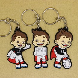 Wholesale European Key Ring Chain - 2016 French European Cup Mascot PVC Keychain Fans Souvenirs Champions League Key Ring Football Key Chains Home Promotional Gifts