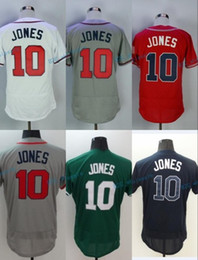 Wholesale Atlanta Homes - 2017 Flexbase Stitched Atlanta 10 Chipper Jones White Blue Gray Green cream Red Jerseys Home Away Road Jersey Mix Order