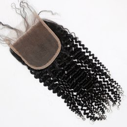 Wholesale Mongolian Kinky Curl Closure - Brazilian Malaysian Indian Peruvian Vietnamese Mongolian Hair Top Lace Closure 8-18inch Kinky Curl Unprocessed Human Hair Closure