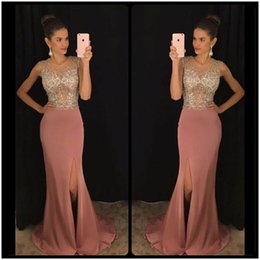 Wholesale Hot Pink Night Dress - Hot Sale Side Split Prom Night Dress Sexy Beaded Chiffon Formal Gowns See Through Crystals Long Party Dresses Custom Size