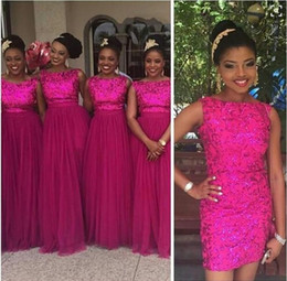 Wholesale Short Dresses For Bride Maids - Summer 2016 Cheap Overskirts Fuschia Lace Bridesmaid Dresses Short Party Dresses With Long Chiffon Skirts Maid Of Bride Gowns For Weddings