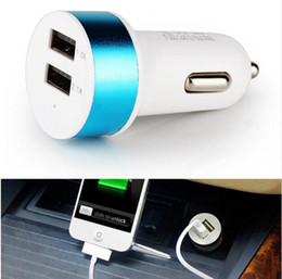 Wholesale Apple Accessories Uk - New Hot Universal Dual USB In Car Charger Auto detector 2 Port Fast Vehicle Charger Adapter 3.1A Smartphone Cell Mobile Phone Accessories