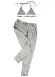 Pantalones de sujetador online-Conjunto de pantalones de mujer de moda clásica, conjuntos de ropa interior Conjunto de sujetador de pantalones largos