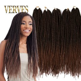 Wholesale Synthetic Hair 18 Pcs - Ombre Crochet Braid hair 18inch 70grams pcs,small Senegalese Twist Hair 30 roots Synthetic braiding hair extension
