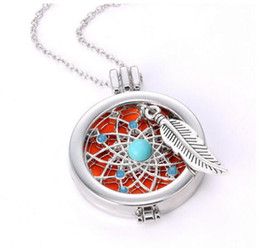"""Wholesale Turquoise Lockets - Aromatherapy Essential Oil Diffuser Necklace Stainless Steel Locket Pendant with 20"""" Chain + 3 Felt Ball"""