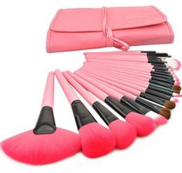 Wholesale Eyeshadow Leather Case - 24pcs Makeup Brushes Kit Professional Portable Cosmetic Make up Brushes Tool Set Foundation Eyeshadow Lip brush with Leather Bag Case
