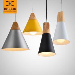 Canada En gros-moderne pendentif lumières en bois + aluminium coloré pendentif lampes pour restaurant / bar luminaire pendientes Accueil decration lamparas Offre