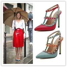Wholesale Strappy Sandals Rhinestones - Designer Pointed Toe 2-Strap with Studs High Heels Leather Rivets Sandals Women Studded Strappy Dress Shoes High Heel Shoes